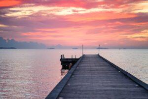 koh samui wooden pier pink sunset